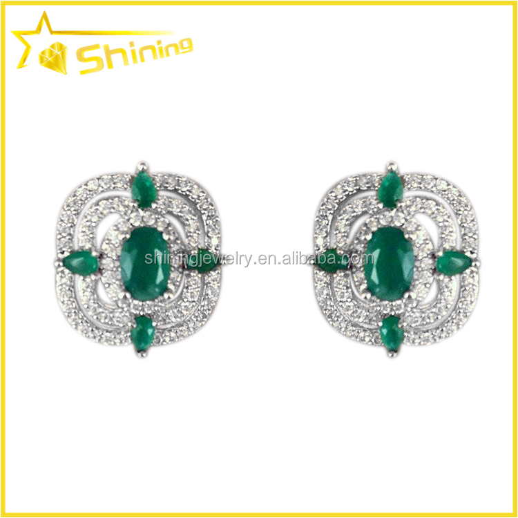 cushion flower shaped with cz diamond paved shining women jewelry zircon earrings fancy earrings