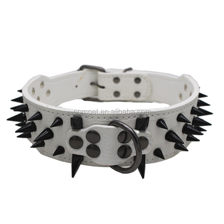 Wholesale pet products large pet collars nails pu leather dog collars