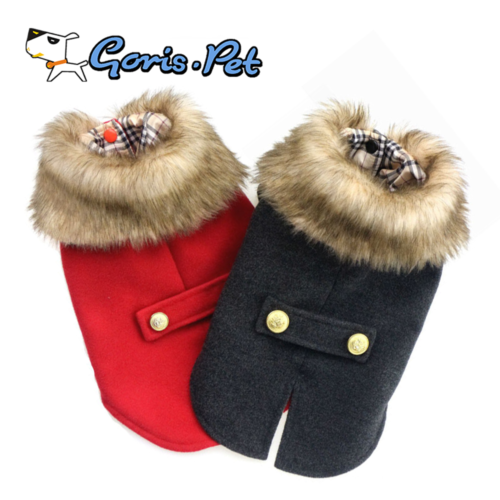 Luxury Fur British Style Woolen Dog Winter Coats and Jackets