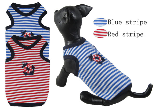 Pet Clothes Wholesale small Dog Clothing Anchor His-and-hers Striped tank 2016 Summer