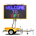 OPTRAFFIC New Portable Outdoor Led Road Sign Solar Power Mobile Led Display Trailer Variable Message Signs Board