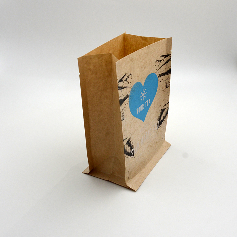 Elegant brown stand up pouch kraft paper packaging bag for tea