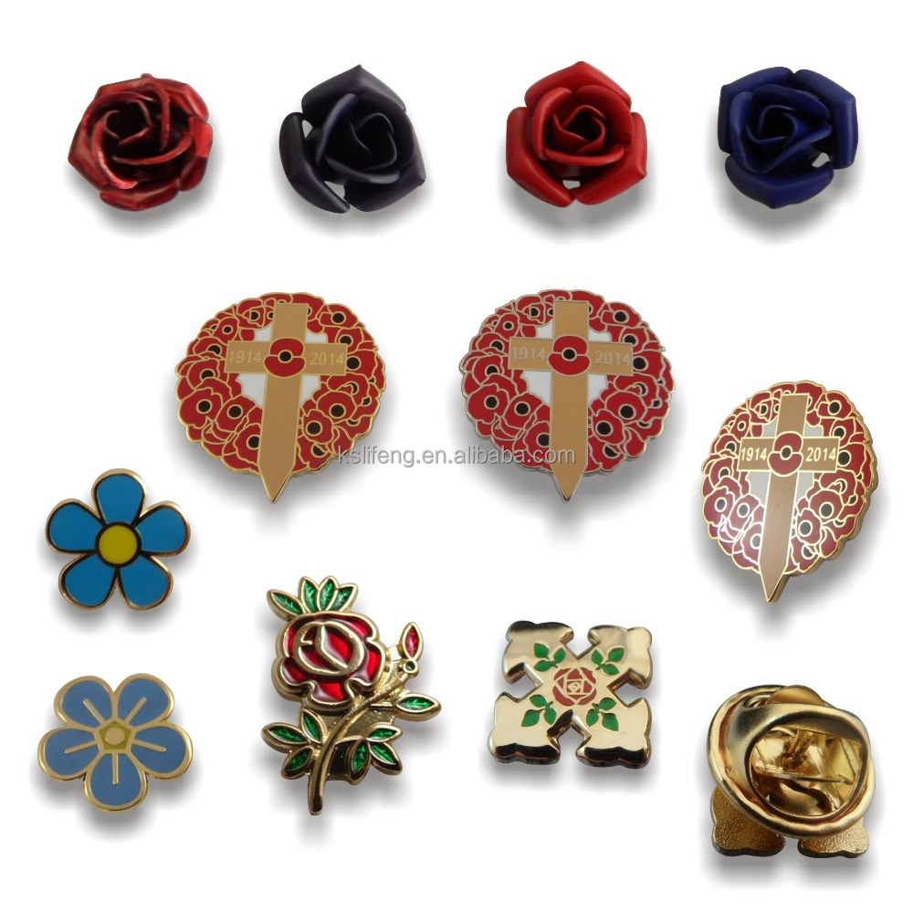 custom mens badge pin garment accessory flower lapel pin