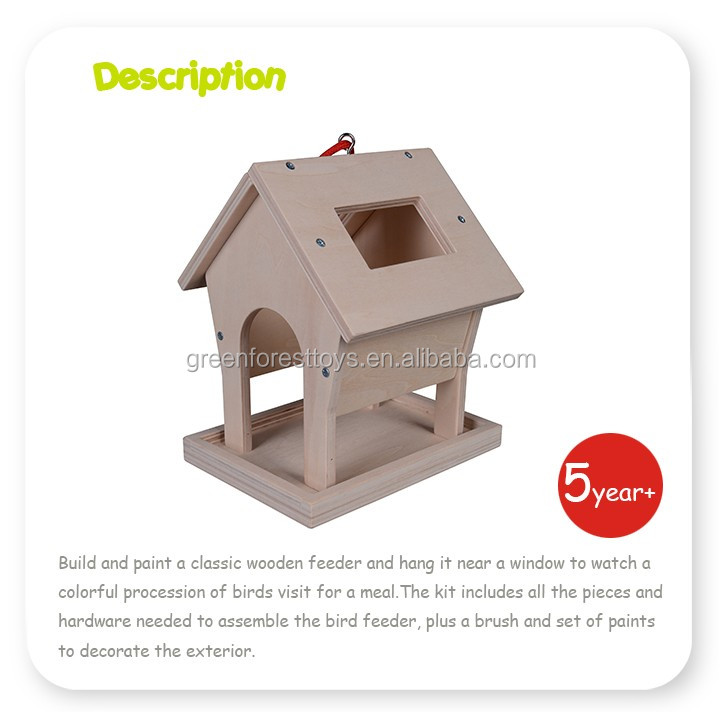 Wooden Craft Educational Kid Wood DIY Bird Feeder toy Kids DIY Crafts