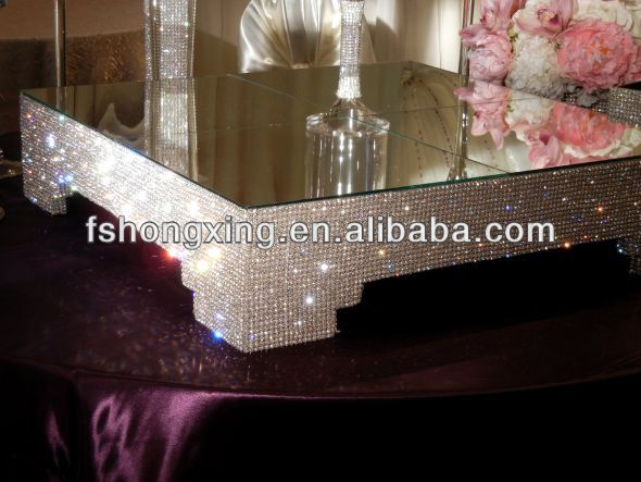 CS96 wholesale Quare Crystal Cake Stand for Wedding Party Decoration