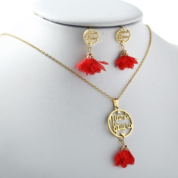 New 7 colors mother's day tassel nativity set And Stainless Steel Jewelry Set includes necklace and earrings For Women