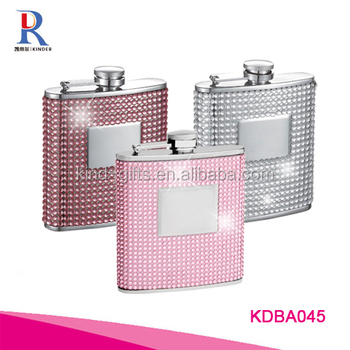 6oz Pink Bling Stainless Steel Hip Flask