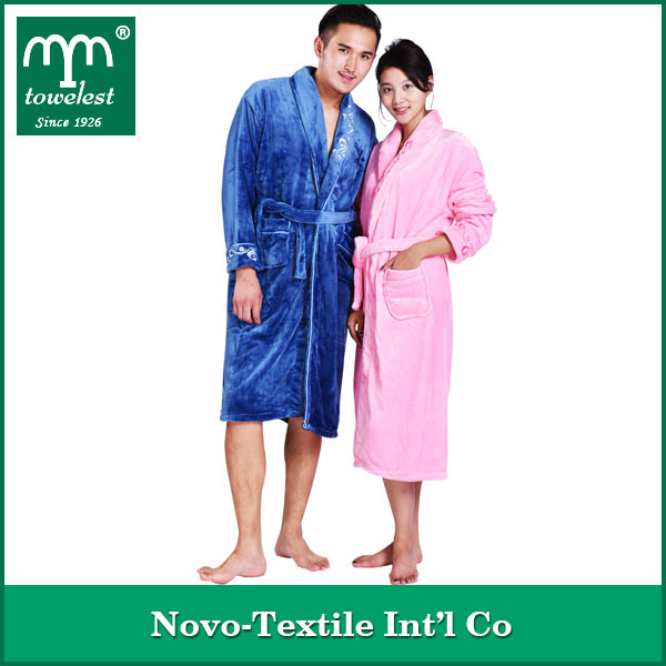 New Design Embroidered 100% Polyester Nightgowns, Plain Flannel Bathrobe For Adult
