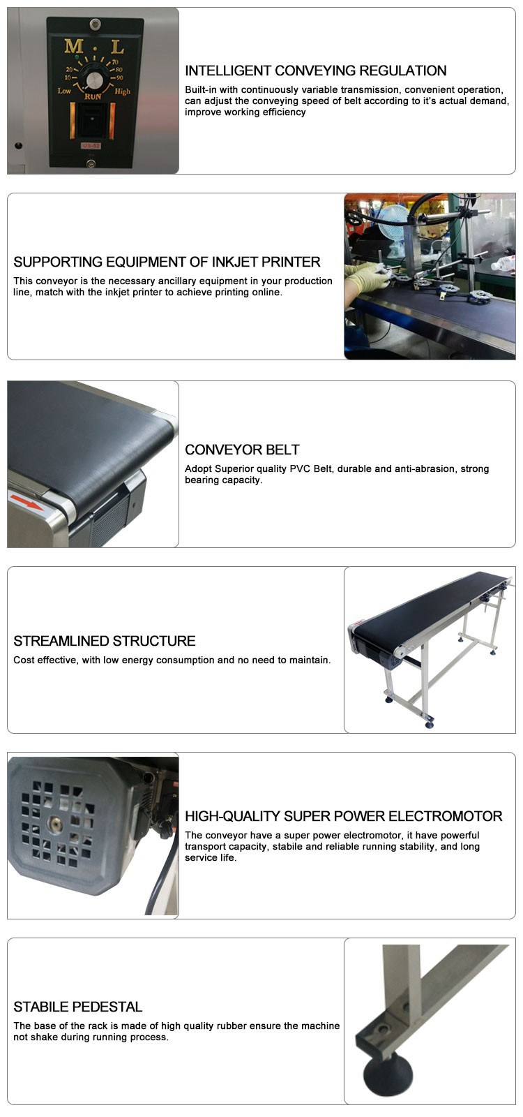 Industrial CIJ Ink Jet Printer Rubber Conveyor Belt