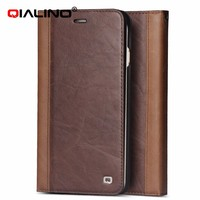 QIALINO New Designs Genuine Leather Case For iPhone 6 With Card Holder, Mobile Phone Back Cover For iPhone 6 Plus