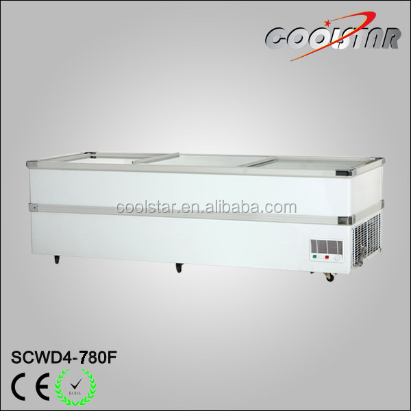 Supermarket refrigerator equipment Top sliding door meat display island jumbo freezer