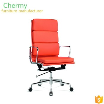 Luxury Italy leather high back recliner aluminum chrome office arm chair
