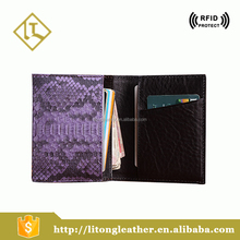Snake skin pattern hot sale women purple color genuine leather Wallets