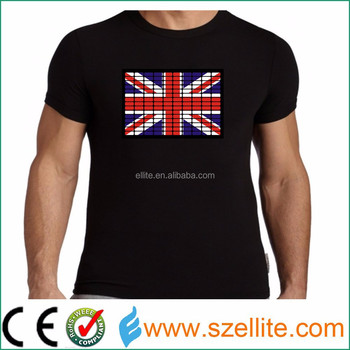 Lighting country flag club event promotional cotton 4AAA driver el t shirt