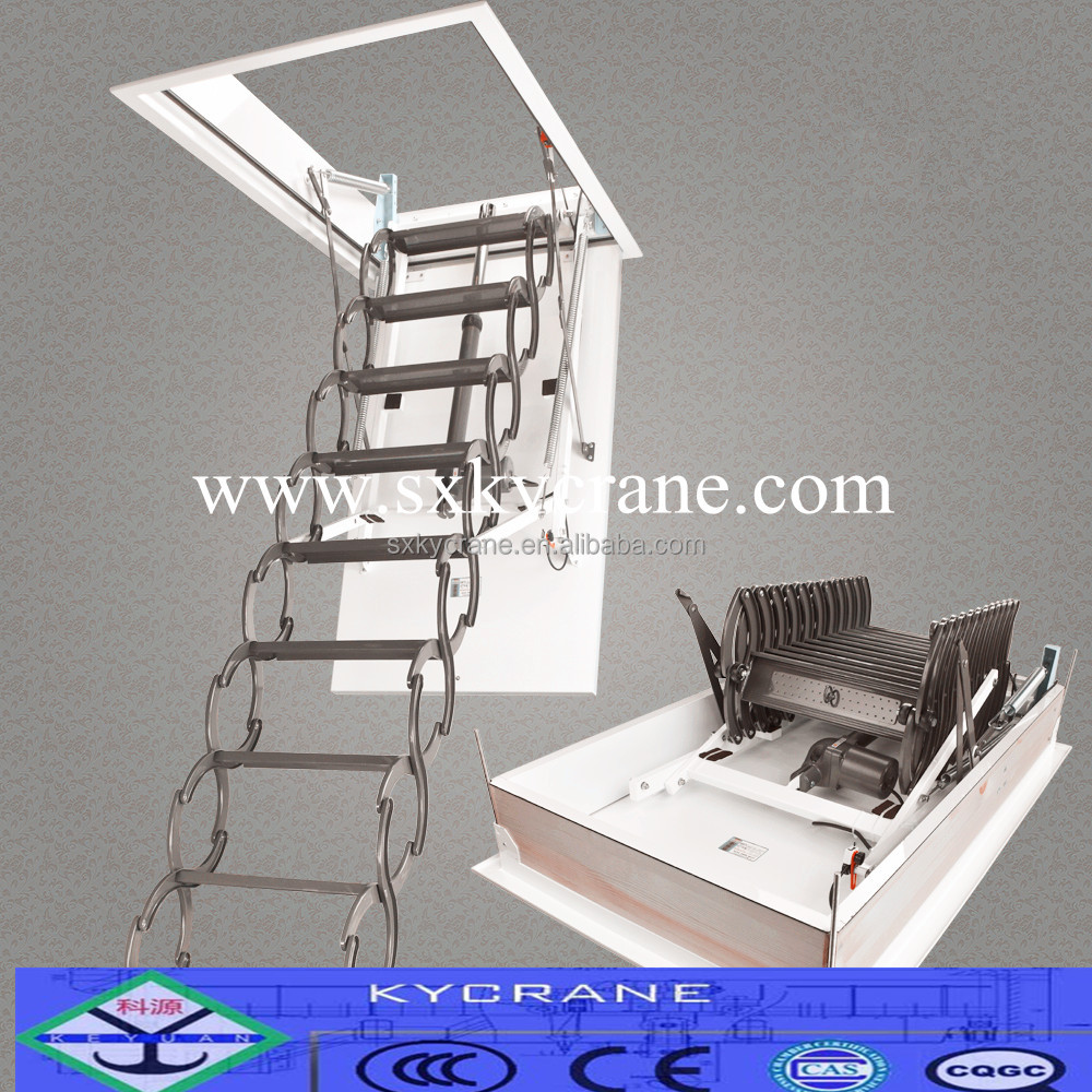 Electric remote control aluminum loft ladder folding attic stairs