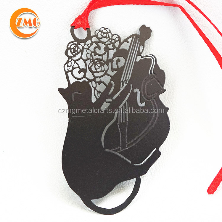 funny black cat playing cello animal bookmarks <strong>metal</strong>