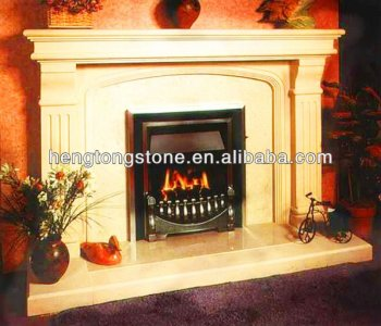 Modern Simple Beige Marble Electric Fireplace Mantel