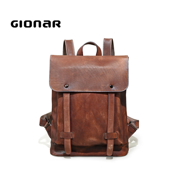 Popular Luxury Branded Internal Frame Vintage Leather Backpack Men