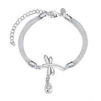 SJ Fashion Jewelry Supplier Copper Silver Plating Snake's Skin Chain Dragonfly Waterdrop Cubic Zirconia Women Charm Bracelet