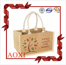 China manufacturing wholesale eco custom made cotton jute bag