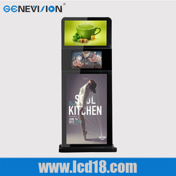 Standing three screens ad player touch screen kiosk monitor touch screen