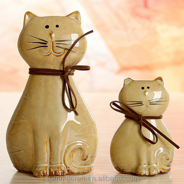 Lovely small ceramic cat animal figurines