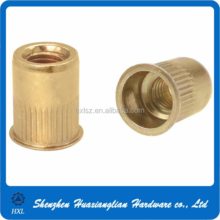 M4 M6 M8 Flat head knurled body brass threaded rivet nut