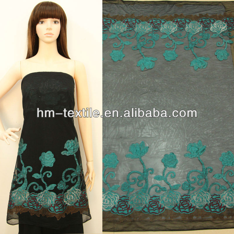 Embroidery fabric design with satin flower/hot sales embroidery for dress, bag with high quality/polyester fabric wholesale