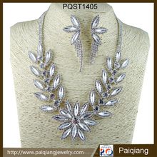 Factory direct sale crystal flower shape necklace and earring jewelry sets