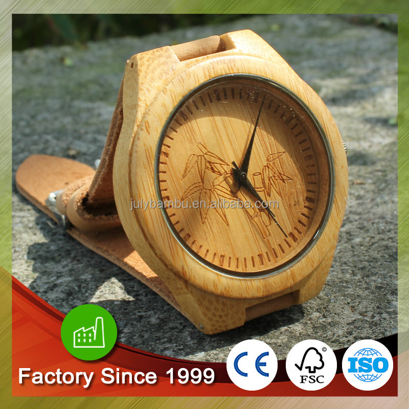 Bamboo wood reported peace wrist watch customized japan