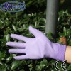 NMSAFETY china safe gloves purple polyester fabric coated with pu work glove en388 4131 glove