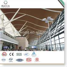 Ruccawood WPC Indoor Composite Decorative Ceiling tiles/ Curved wood ceiling panel/ PVC ceiling 50*25mm