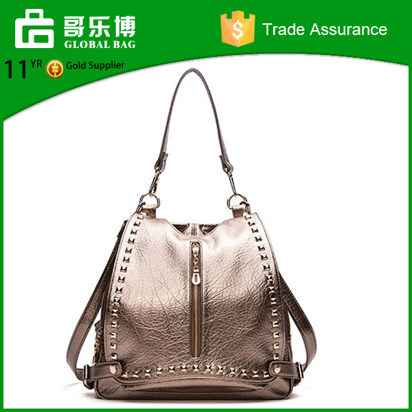 Wholesale Metallic Pu Handbags Shoulders Backpack Bags