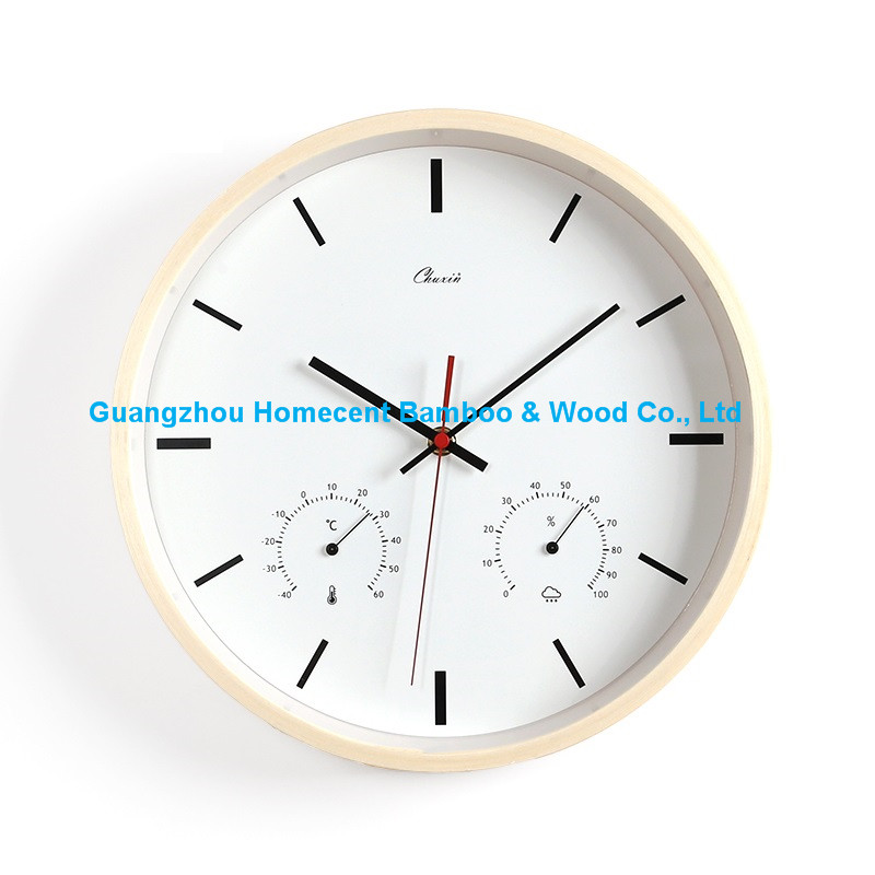 High Quality 100% Wooden Mute Wall Clocks Wood Decorative Mute Wal Clocks With Tempreture and Humidity