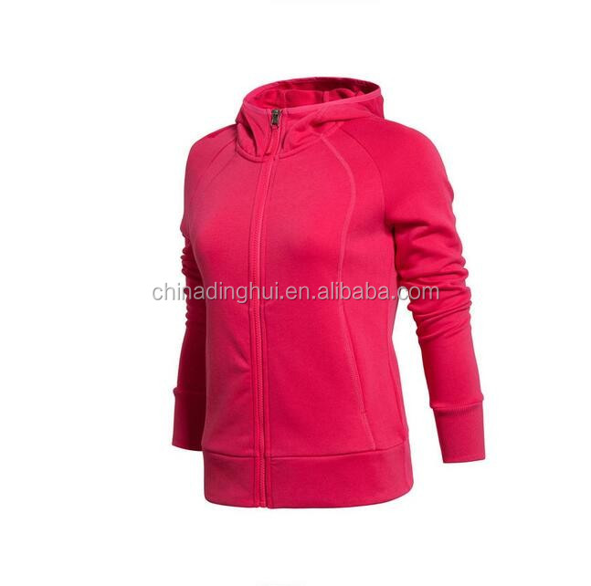 Bright Color Ladies Plain Hoody Heavy Warm Sweatshirt