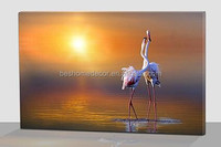 white crane cavnas painting,wall art with led lights,LED canvas print