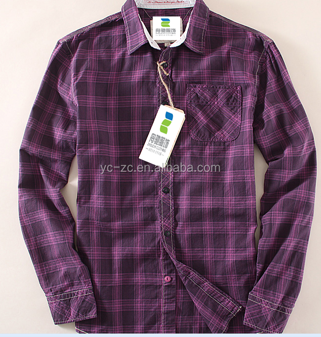 Latest fashion long sleeve shirts bangalore red plaid shirt flannel man with china supplier