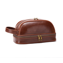 1CS0905 Amazon Hot Sale Waterproof Crazy Horse PU Leather Wash Bag Hanging Toiletry Bag For Men Travel
