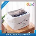 Encai Folding Cotton Linen Printed Small Storage Basket