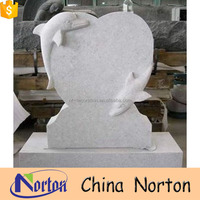 White dolphin shaped granite simple design headstone NTGT-020Y