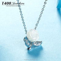 T400 Jewelry 925 sterling silver necklace shell pendant make with AAA zirconia