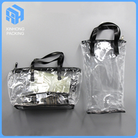 Heat seal pvc handle bags for shopping/High quality zipper top pvc handle bags/pvc zip lock bag