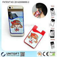 3M adhesive stickers silicone mobile phone card holder with screen wiper