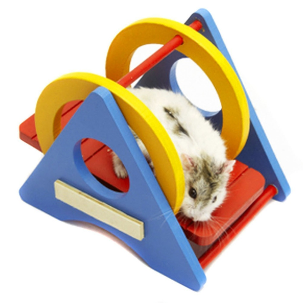 Pet Hamster Colorful Wooden Swing Toy for Small Animals// Dwarf Mice/ Mini Geckos