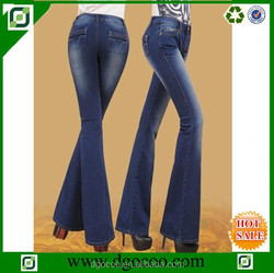 New clean design monkey wash wholesale cheap elastic denim flared balloon jeans