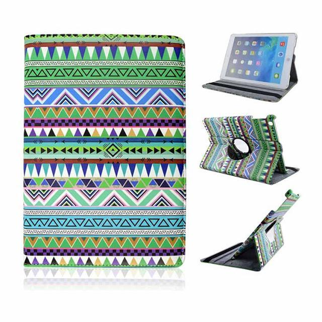 Stylish aztec 360 degree rotate stand printing leather cover case for ipad mini