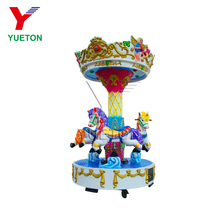 Kiddie kids used cheap 3 seats coin operated mini small merry go round carousel horses amusement park rides for sale