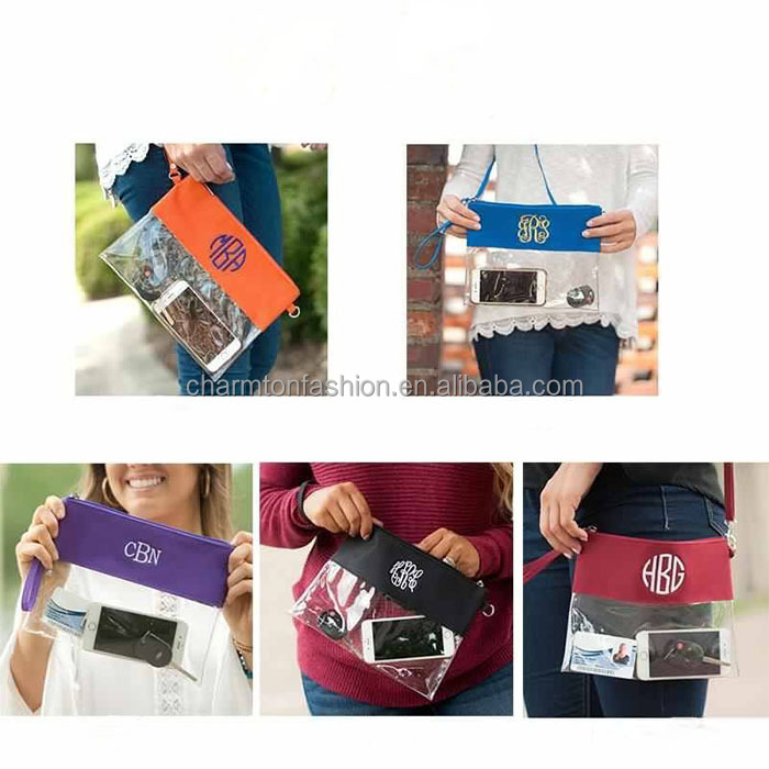 Wholesale Fashion Personalized Women Monogrammed Stadium Clear Purse