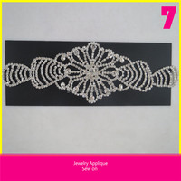 Wholesale 7x25.5cm 888 Crystal Jewelry Applique Lace Trim Sew on Dress
