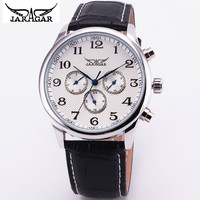 2016 JARAGAR Luxur Brand Men Watch White or Black Leather Auto Mechanical Watches Men 6-hands Wristwatch